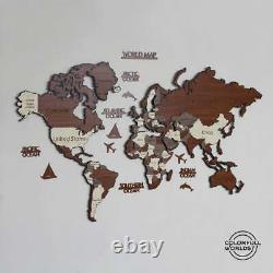 3D Wood and Metal World Map Wall Decor, Wood and Metal Art, Anniversary Present