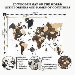 3D Wooden World Map Christmas Gift for Travelers Wood Wall Map Home Art Decor