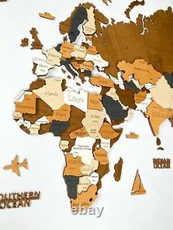 3D Wooden World Wall Map L size 59 x 31 Brown Colors Multilayered Color