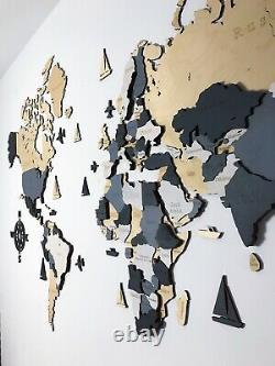 3D Wooden World Wall Map in Beige And Grey L size 59 x 31