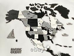 3D Wooden World Wall Map in Black Grey and White XXXL size 118 x 59