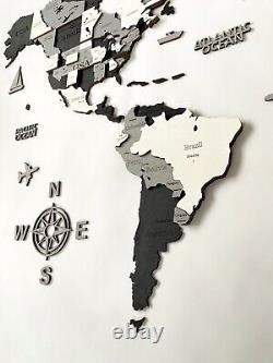 3D Wooden World Wall Map in Black and White L size 59 x 31