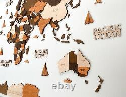 3D Wooden World Wall Map in Brown Colors XXL size 98 x 51