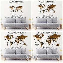 3D Wooden World Wall Map in Brown and Dark Grey L size 59 x 31