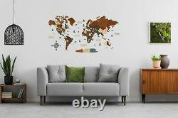 3D Wooden World Wall Map in Dark Brown and Green L size 59 x 31