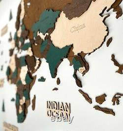 3D Wooden World Wall Map in Dark Brown and Green XXL size 98 x 51