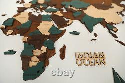 3D Wooden World Wall Map in Dark Brown and Green XXXL size 118 x 59