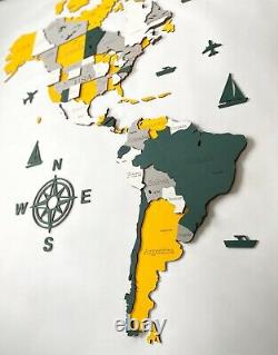 3D Wooden World Wall Map in Yellow and Green L size 59 x 31