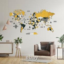 3D Wooden World Wall Map in Yellow and Green M size 43 x 24