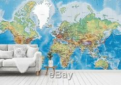 3D World Map 9341 Wall Paper Exclusive MXY Wallpaper Mural Decal Indoor Wall AJ