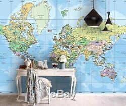 3D World Map, Detailed Wallpaper Wall Mural Removable Self-adhesive Sticker