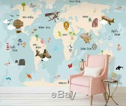 3D World Map O1115 Wallpaper Wall Mural Removable Self-adhesive Sticker Kids Amy