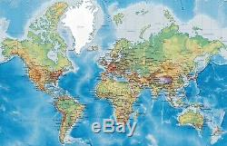 3D World Map Real Self-adhesive Removable Wallpaper Wall Mural Sticker