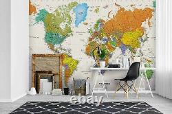 3D World Map Self-adhesive Removeable Wallpaper Wall Mural Sticker 58