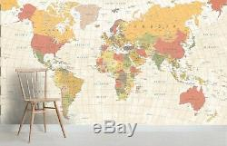 3D World Map Wallpaper Self-adhesive Removable Mural Feature Wall 48