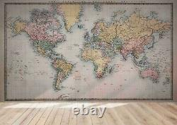 3D World Map Wallpaper Wall Mural Removable Self-adhesive Sticker4820