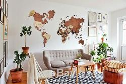 3D World Map World Map Of The World Wall Wooden Decor Wooden Map Home Decor