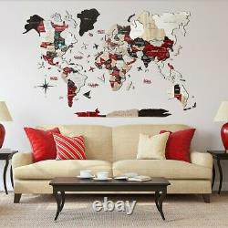 3D World Wooden Map Decor Wall Wood Art Puzzle Gift Home Decoration Bedroom DIY
