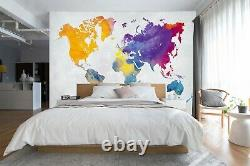 3D Yellow Blue B412 World Map Wallpaper Wall Mural Removable Self-adhesive Amy