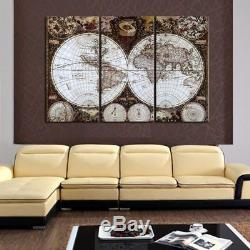3 Panel Map Living Room Canvas Print World Map Panel Wall Art Poster