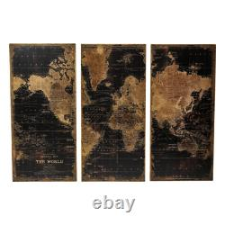 48 in. X 22 in. Stanford Wood Distressed World Map Wall Art (Set of 3)