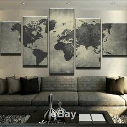 5 Panel Map of the World Modern Décor Wall Art Canvas HD Print