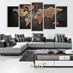 5 Panel World Map Black Background Canvas Print Wall Art Painting Picture SALE