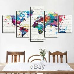 5 Pieces Abstract World Map Watercolor Paint Canvas Wall Art Poster Home Decor