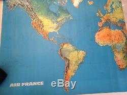 AIR FRANCE Airlines Vintage World Map Topographical 7' x 4' Giant Wall Art VTG