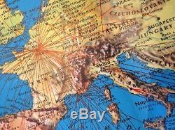AIR FRANCE Airlines World Map Topographical 7' x 4' 1965 1979 Vintage