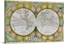 A New and Correct Map of the World, Canvas Wall Art Print, Map Home Decor
