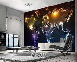 Abstract Neon World Map Photo Wallpaper Woven Self-Adhesive Wall Mural Art M129