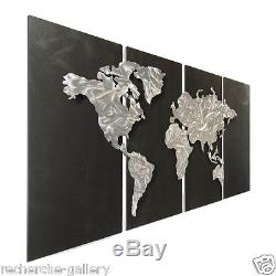 Abstract World Map on Metal by Ash Carl Modern Wall Sculpture Decor
