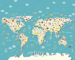Animals Of The World Blue Children's Map Wall Mural