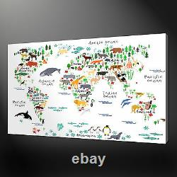 Animals World Map Canvas Print Picture Wall Art Home Decor Free Delivery