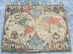 Antique French Tapestry Wall Hanging Home Décor World Map Tapestry Romantic