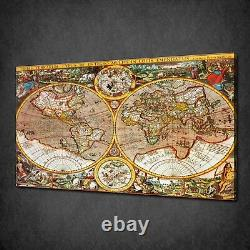 Antique Map Of The World Canvas Picture Print Wall Hanging Art Home Decor