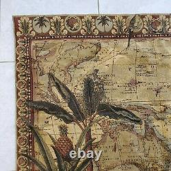 Antique Map of The World Tropical Hanging Wall Tapestry