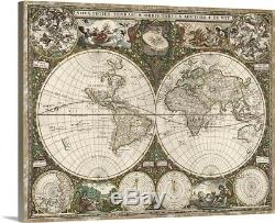 Antique Map of the World, 1660 Canvas Wall Art Print, Map Home Decor