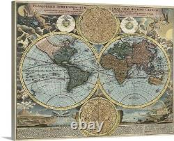 Antique Map of the World, ca. 1716 Canvas Wall Art Print, Map Home Decor