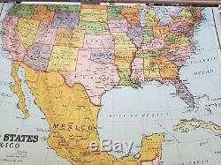 Antique Nystrom Wall Mounted 7 Cloth Map Pull Down 1939 Oak Frame USA & World