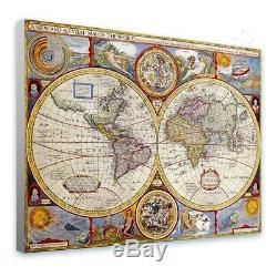 Antique Old Vintage V1 by World Map Ready to hang canvas Wall art print