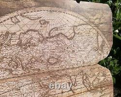 Antique Style Huge World Map Globe Earth Wooden Vintage Map Wall Hanging