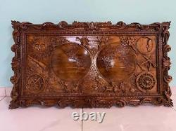 Antique style Wooden Old World Map Bas-relief Wooden Carved Wall Art
