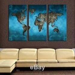 Art 6 World Map Canvas Art Print for Wall Decor Painting