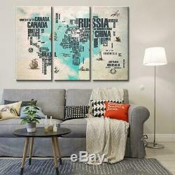Art 7 World Map Canvas Art Print for Wall Decor Painting