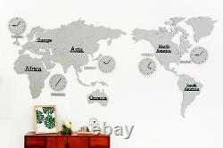 Big Large World Map Wall Clock Wooden DIY Sticker Puzzle Home LPM Silver 220CM