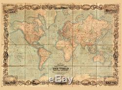 Canvas Giclee Home Wall Prints Vintage Old World Map Photo Print Color Picture 2