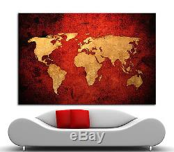 Canvas Giclee Home Wall Prints Vintage Old World Map Print Color Picture Red