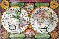 Canvas Home Wall Prints Antique Vintage Old World Map Photo Print Color Picture